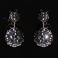 [15/8 мм] Cерьги матрешка Dior черные дутики чрные стразы