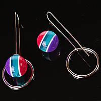 [15/8 мм] Серьги продевка шар на кольцо трехцветная полоска КСБ