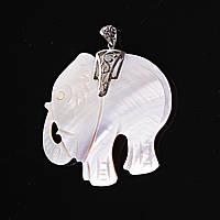 Кулон подвеска Перламутровый профиль Слон