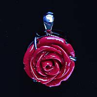 [20/20 мм.] Кулон подвеска Роза  Полимерная Глина Красная