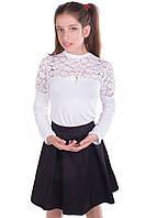 Белая школьная блуза с длинным рукавом для девочки подростка