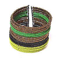 Браслет бисер скоба черный зеленый желтый янтарный
