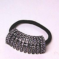 Резинка для волос черная темная Страза темная сталь