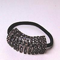 Резинка для волос черная темная Страза темная сталь коричневый
