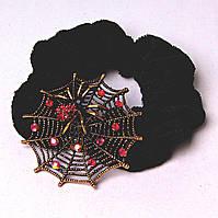 Резинка для волос резинка черный бархат паучье гнездо бронза