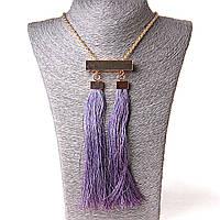 [55/10 мм] Ожерелье с подвеской из 2 текстильных кисточек фиолетовый Gold