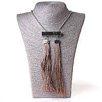 [55/10 мм] Ожерелье с подвеской из 2 текстильных кисточек бежевый Silver
