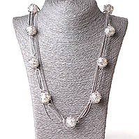 [20 мм] Ожерелье шариковая цепь жемчуг в плетении c.сталь Silver