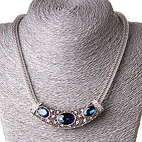 Ожерелье жгут с кристаллами с подвеской крупные камни стразы синий Silver