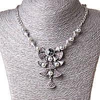 [60-40 мм] Ожерелье жгут с  подвеской Волшебные колокольчики стекло жемчуг страза Silver
