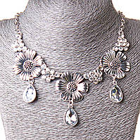 [20-30 мм] Ожерелье 3 цветка камни капли страза Silver белый