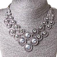 [10-20 мм] Ожерелье Цвет души возрастающая страз Silver белый