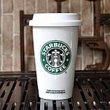 Чашка керамическая с силиконовой крышкой с поилкой Starbucks, фото 3