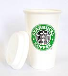 Чашка керамическая с силиконовой крышкой с поилкой Starbucks, фото 4
