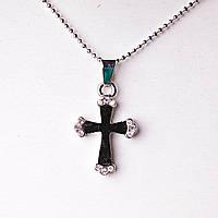 На Цепочке Крестик Черный Страза Кулон