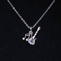 [30х10 мм.] Кулон подвеска на цепочке ноты восьмушки и электрогитара, металл Silver со стразами