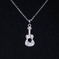 [30х10 мм.] Кулон подвеска на цепочке гитара аккустическая, металл Silver со стразами