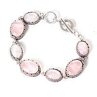 """Браслет  Розовый кварц оправа  """"зубчик"""" овальный  камень 7 шт 20*16 и 13*16мм  больше меньше см L-18-21см"""