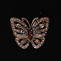 Солнечная Бабочка Со Стразами, Металл Gold Брошь
