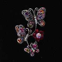 Брошь Бабочки, Сидящие На Цветке, Разноцветные Стразы И Металл Под Капельное Серебро Яркая