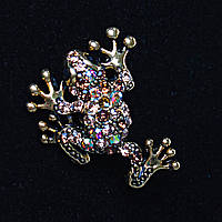 Лягушка С Разноцветными Стразами, Металл Gold Брошь