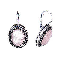 """Серьги  Розовый кварц оправа  """"точка крестик"""" овальный   камень 2,5*2см L-3,8см"""
