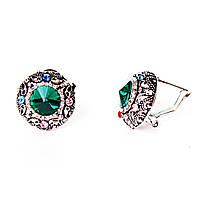 Серьги  2см  радуга круг стразы кристалл зеленый