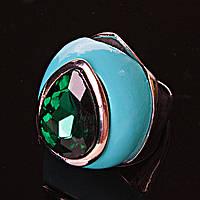 Перстень пышный капля кристалл эмаль
