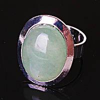 """Кольцо Нефрит гладкая оправа плоская  """"М"""" овальный  камень 2,2*1,7см без р-р"""