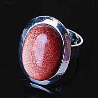 """Кольцо Авантюрин """"золотой песок"""" гладкая оправа плоская  """"М"""" овальный  камень 2,2*1,7см без р-р"""