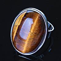 """Кольцо Тигровый глаз гладкая оправа  """"С"""" овальный  камень 2,6*2,0см без р-р"""