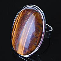"""Кольцо Тигровый глаз гладкая оправа  """"Б"""" овальный  камень 3,2*2,2см без р-р"""