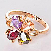 [17,18,19] Кольцо цветок GOLD самоцветы стекло