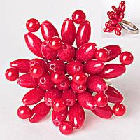 Кольцо без р-р  цветок плетение коралл гибкое