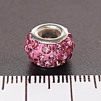 [11мм]  Фурнитура для бижутерии боченок страза розовый