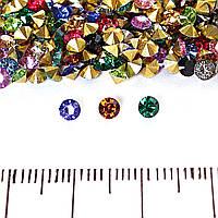 Камушки стразы разноцветные ассорти #14 d-3.5mm, цена за упаковку