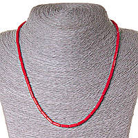 Бусы из натуральных камней коралл красный, бусины  трубочки 3,5х9мм