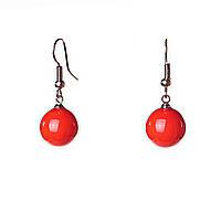 [33/13мм] Серьги застежка-петля оранжевый шарики