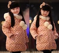 Детское зимнее пальто для девочек, рост 100, 110 см