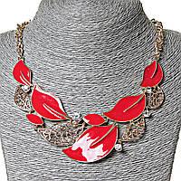 Ожерелье летнее Красные листья эмаль сталь