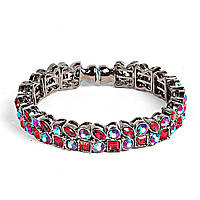 [6см] Браслет женский, гибкий, украшен цветными камнями различной формы