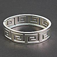 """[6.5см] Браслет """"Меандр"""", женский, цвет- серебро, геометрический орнамент"""