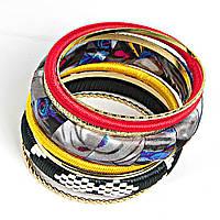 """[6см] Браслет """"Эклектика"""", женский, из нескольких колец и объемного обруча, украшен цветными узорами"""