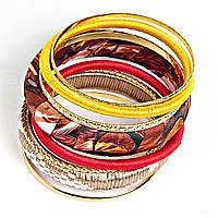 [6см] Браслет женский, состоит из нескольких тонких и объемного обруча в осенних красно- золотых тонах