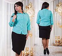 """Элегантная женская рубашка в больших размерах """"Погончики"""" в расцветках"""