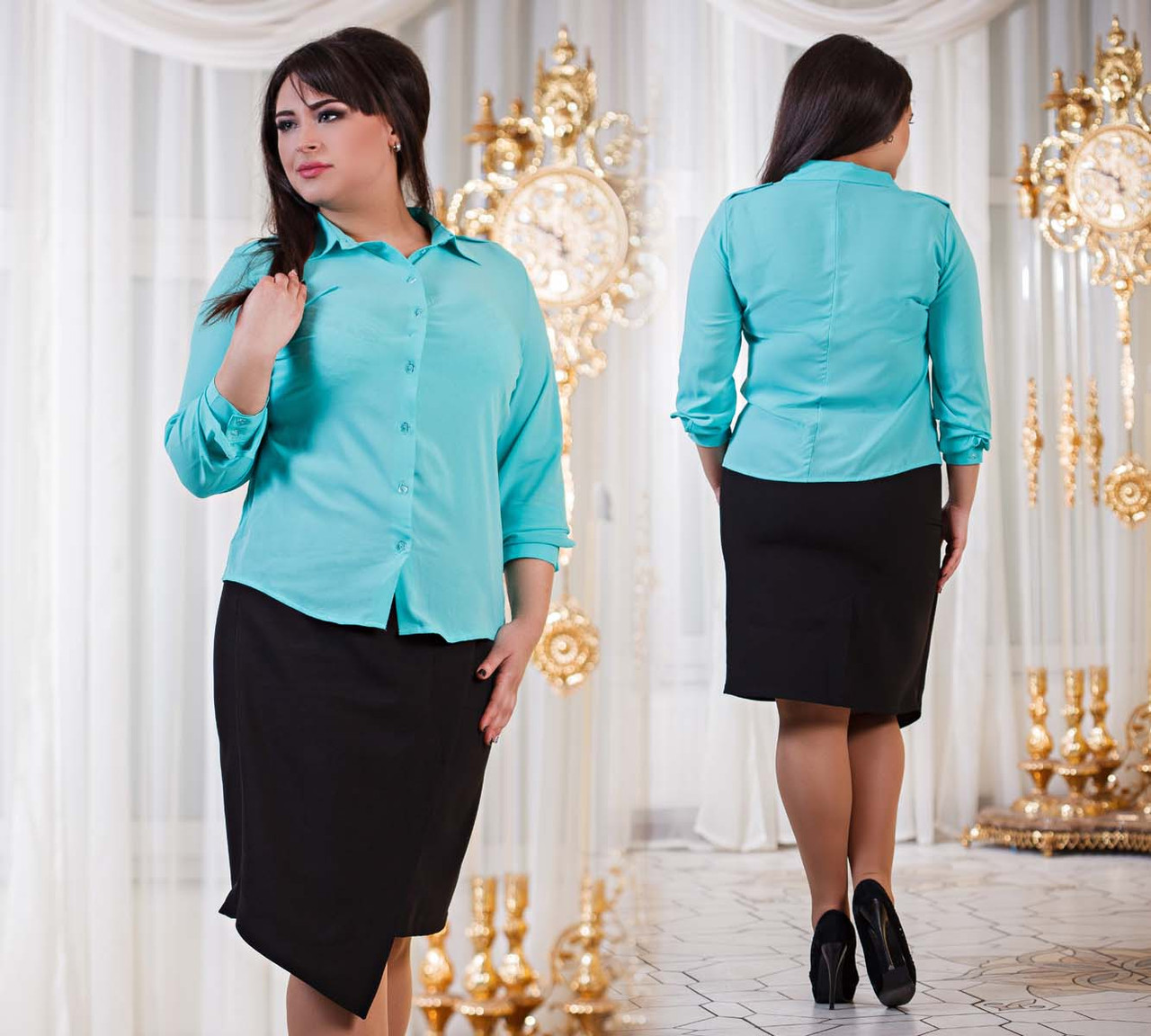 """Элегантная женская рубашка в больших размерах 629-1 """"Погончики"""" в расцветках - """"Пальмира"""" - прямой поставщик модной одежды оптом и в розницу от производителя в Одессе"""
