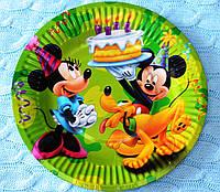 """Праздничные одноразовые бумажные тарелки """"Микки Маус"""", диаметр 18 см"""