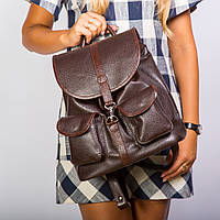 Коричневый женский рюкзак молодежный городской большой 1363 braun, фото 1