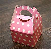 """Праздничная упаковочная коробочка """"Горошек"""", картон, цвет розовый, 9*9*6 см"""