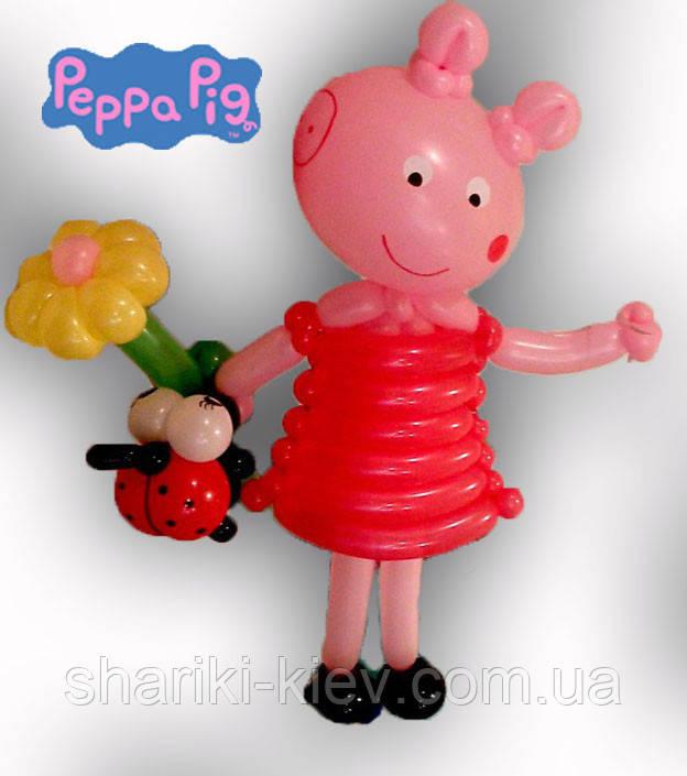 Свинка Пеппа из шариков с ромашкой и жучком на День рождения